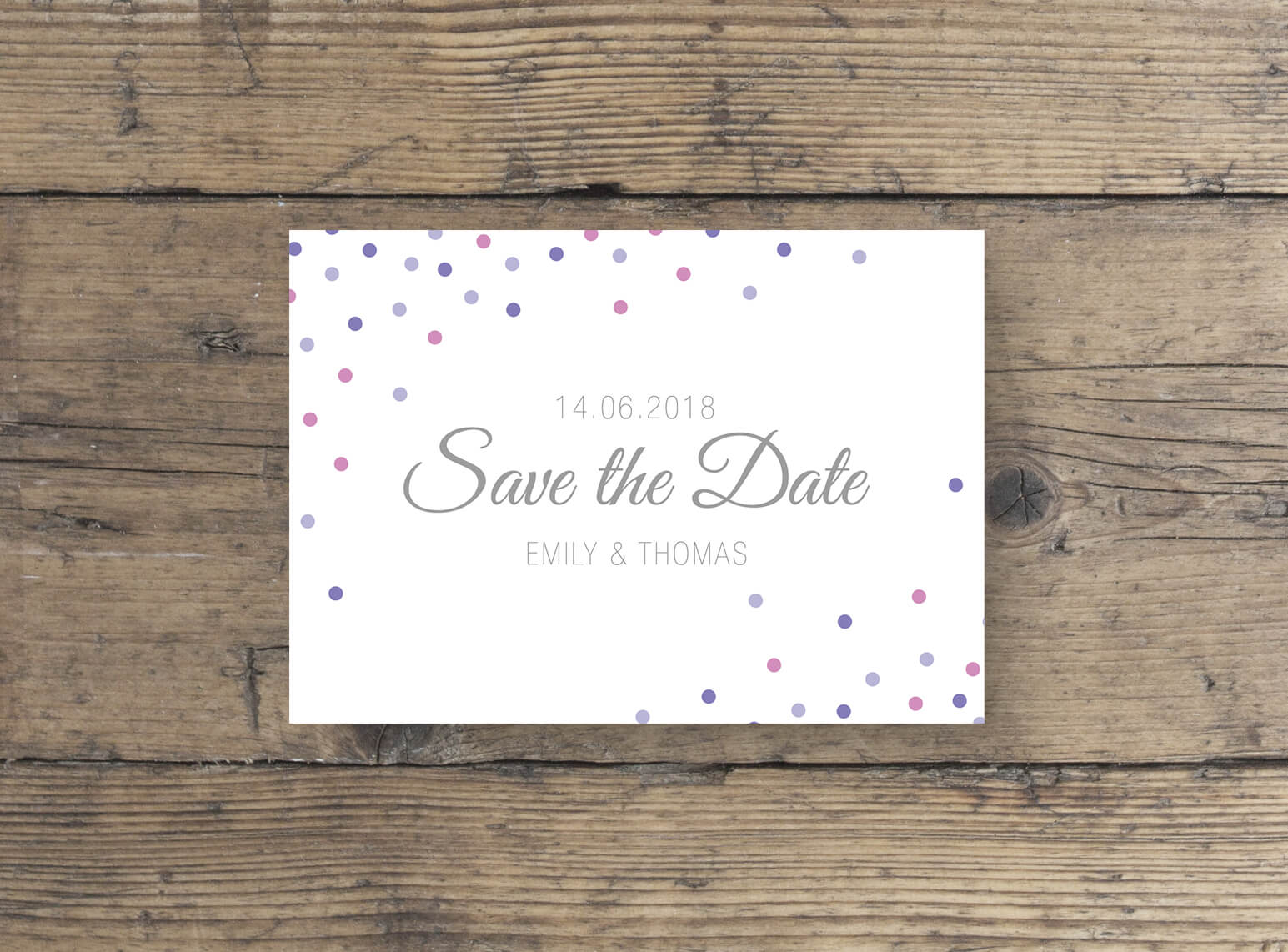 Postkarte Save The Date elegante Schrift lila rosa