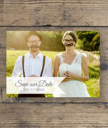 Save the date Postkarte mit Foto Modernes Design lila rosa