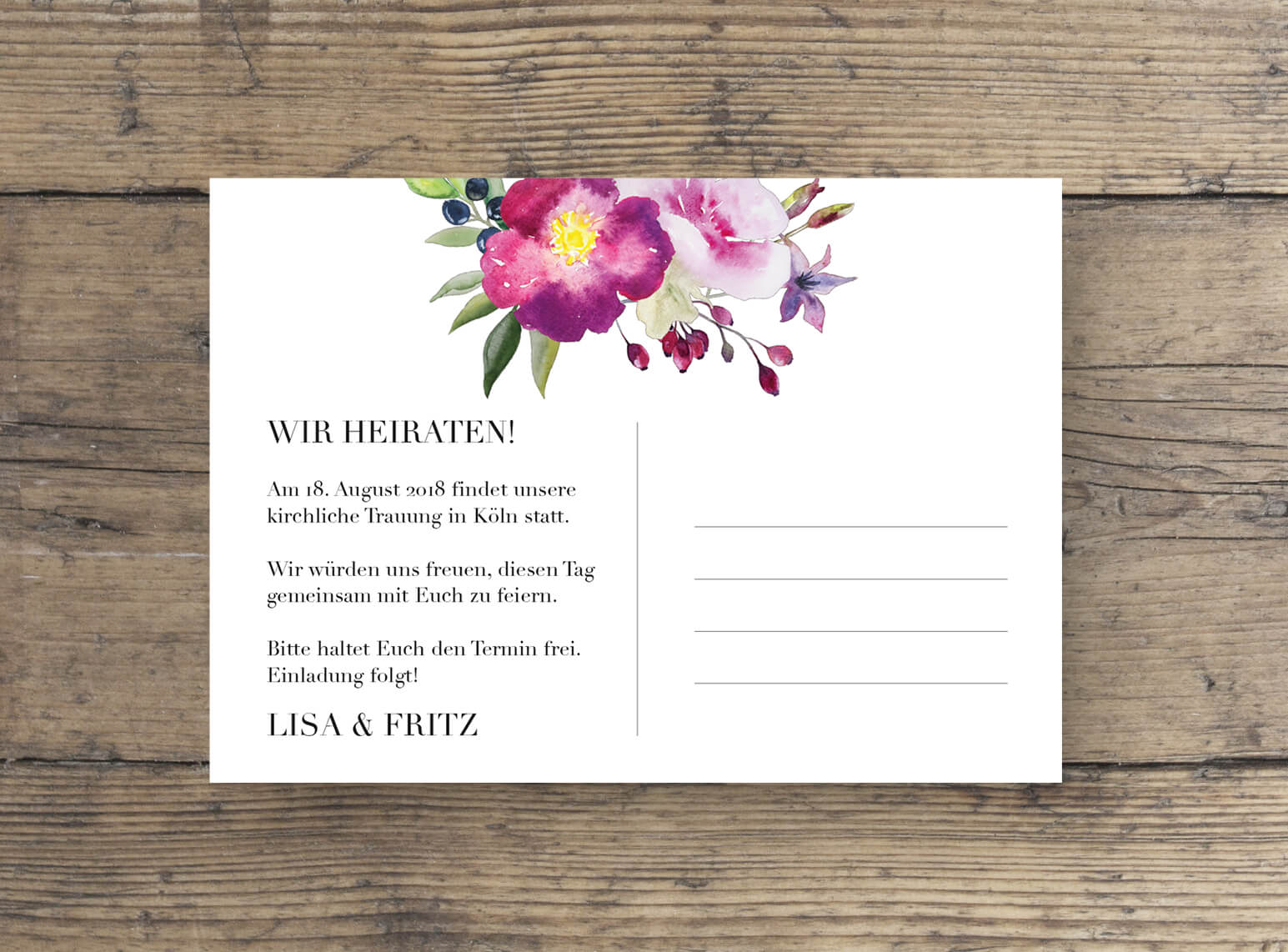Rosen Aquarell Save the Date postkarte