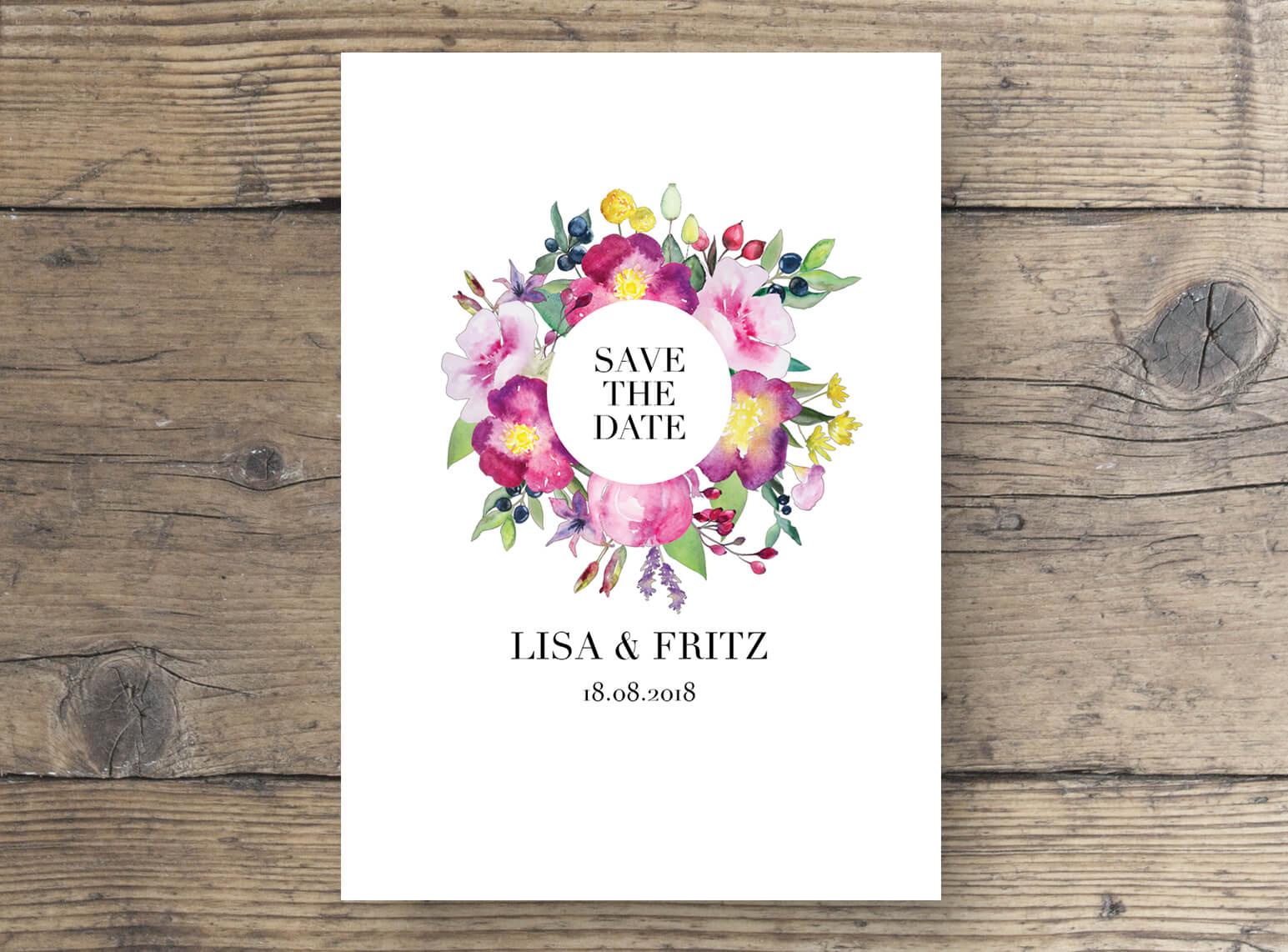 save the date karten Aquarell mit Blumen, Hochzeitskarten wilde Romantik in Aquarell