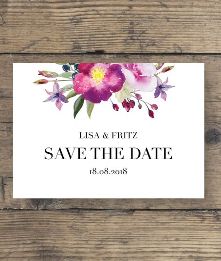 save the date karten Aquarell mit rosen