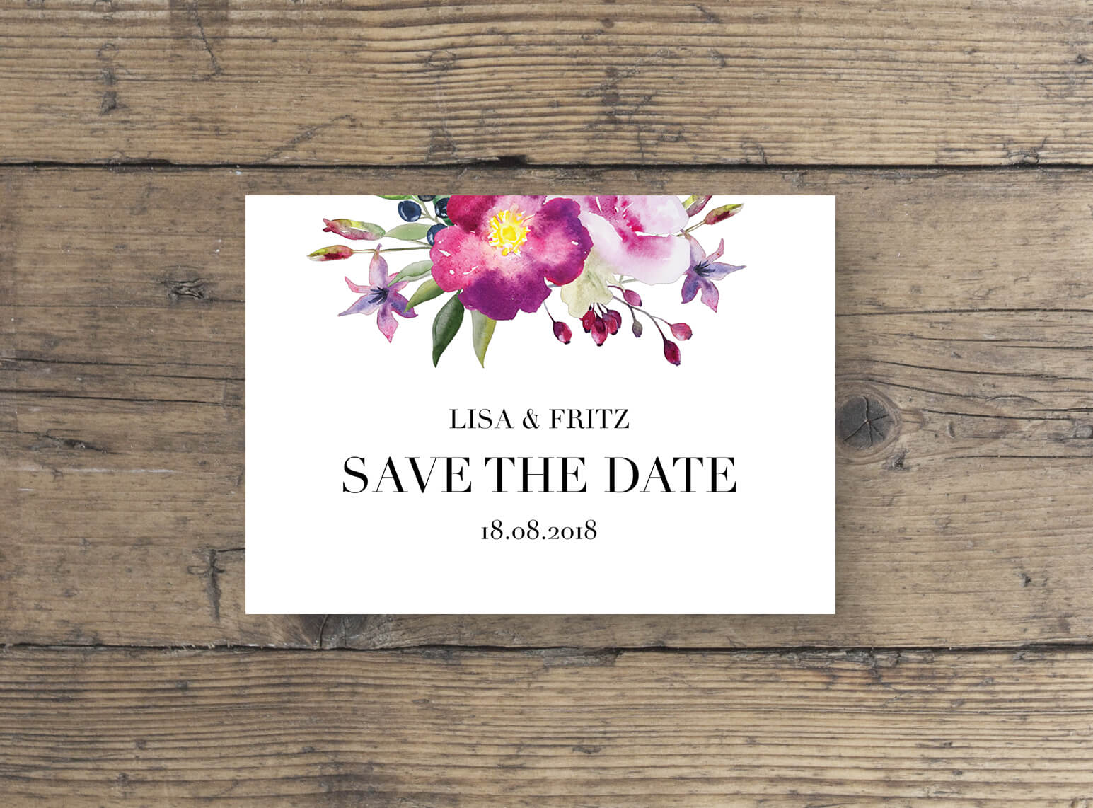 Aquarell Rosen Save the Date Postkarte Elegante Schrift