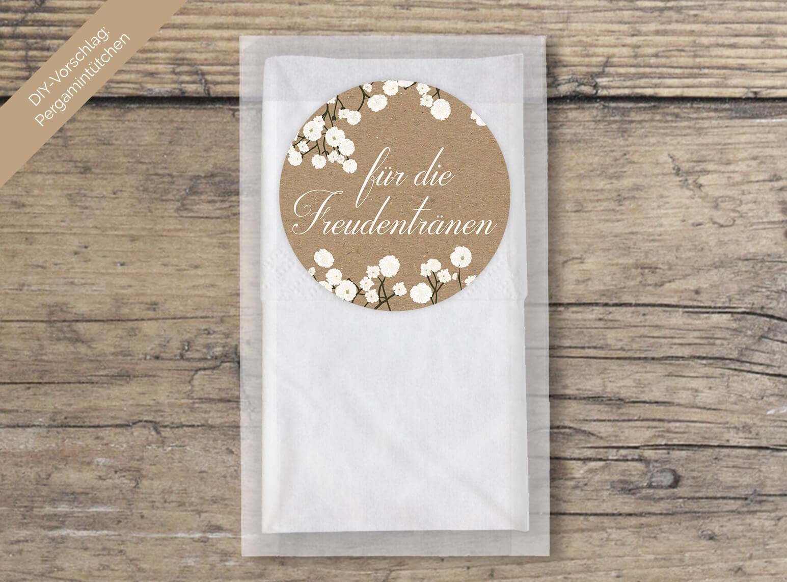 Schleierkraut Kraftpapier Aufkleber Hochzeit rund Freundentränen