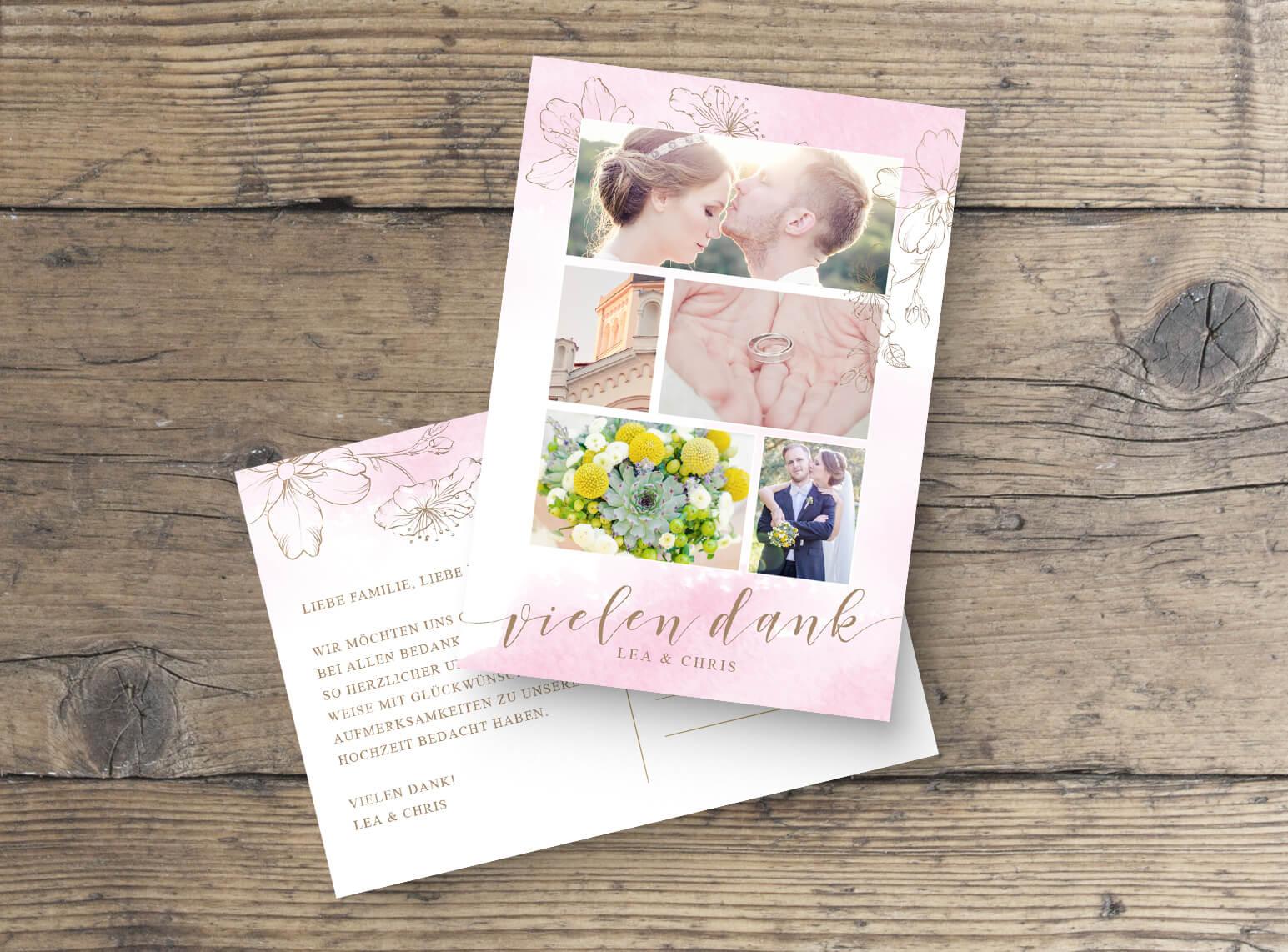 Dankeskarte Hochzeits Postkarte mit Foto