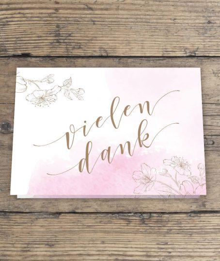 Dankeskarte Hochzeit Gold mit Foto