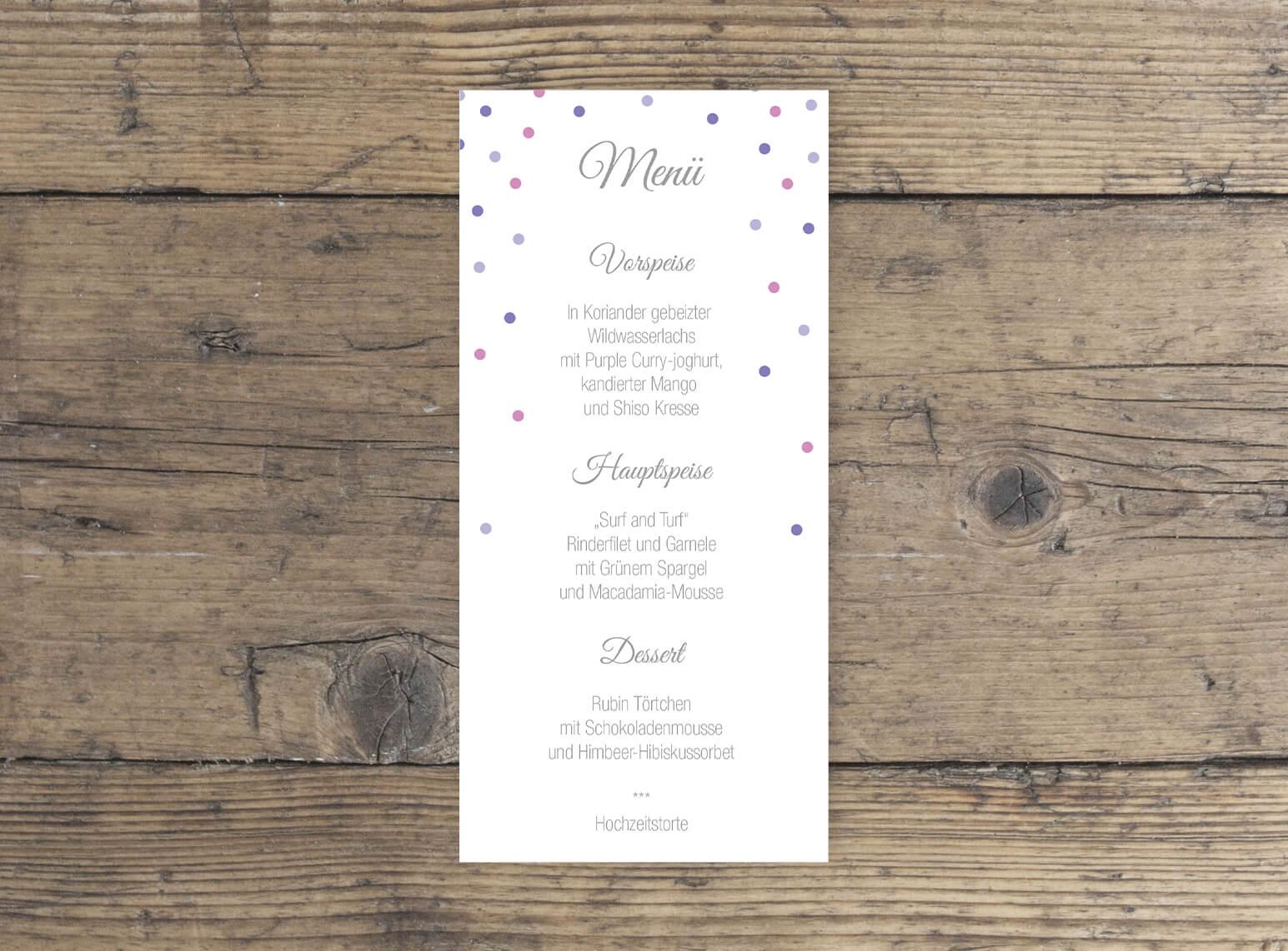 Menükarte Elegantes Design Hochzeit