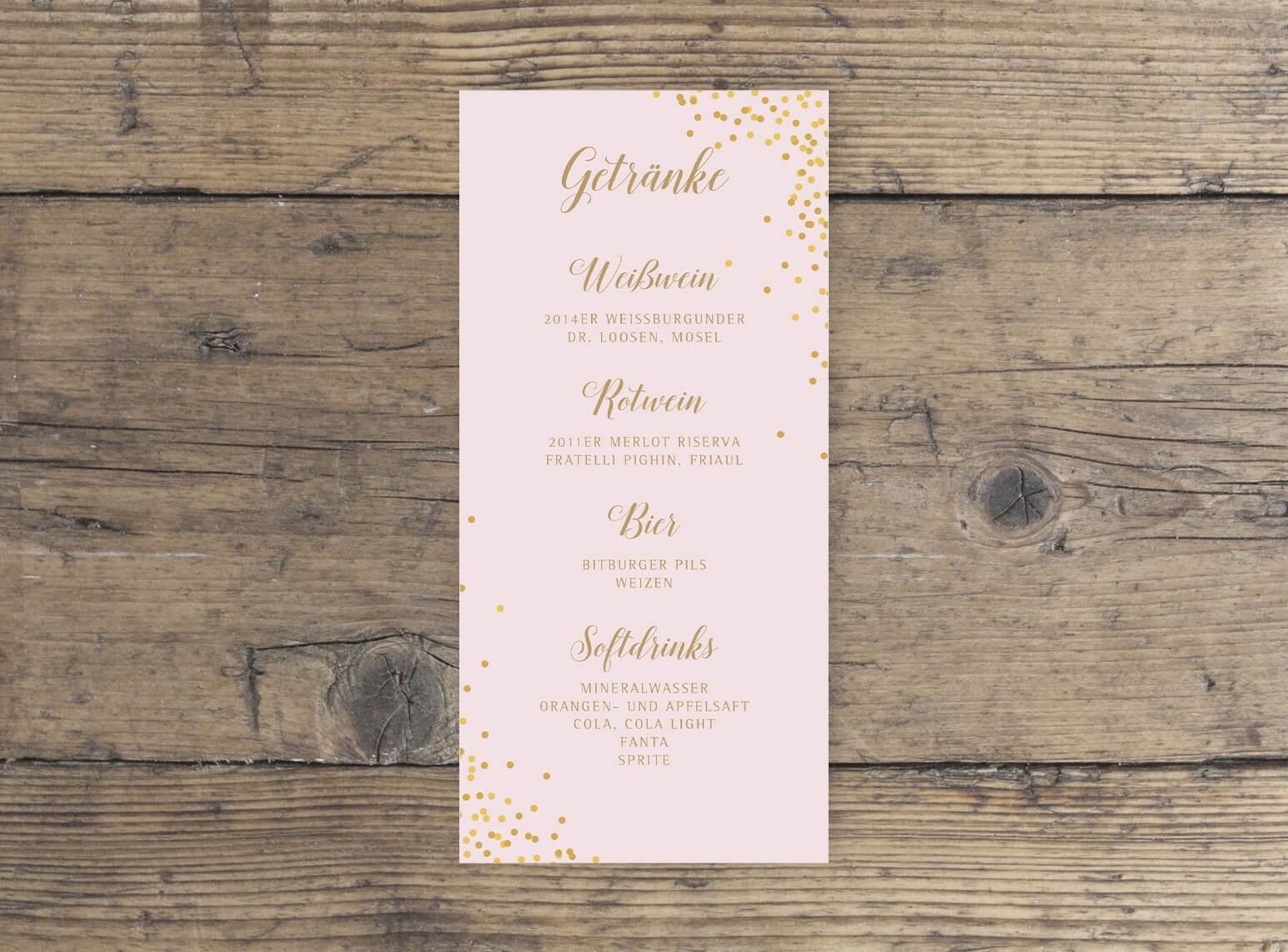 Hochzeit Getränkekarte DINlang Hochformat rosa gold geschwungene Schrift vorderseite