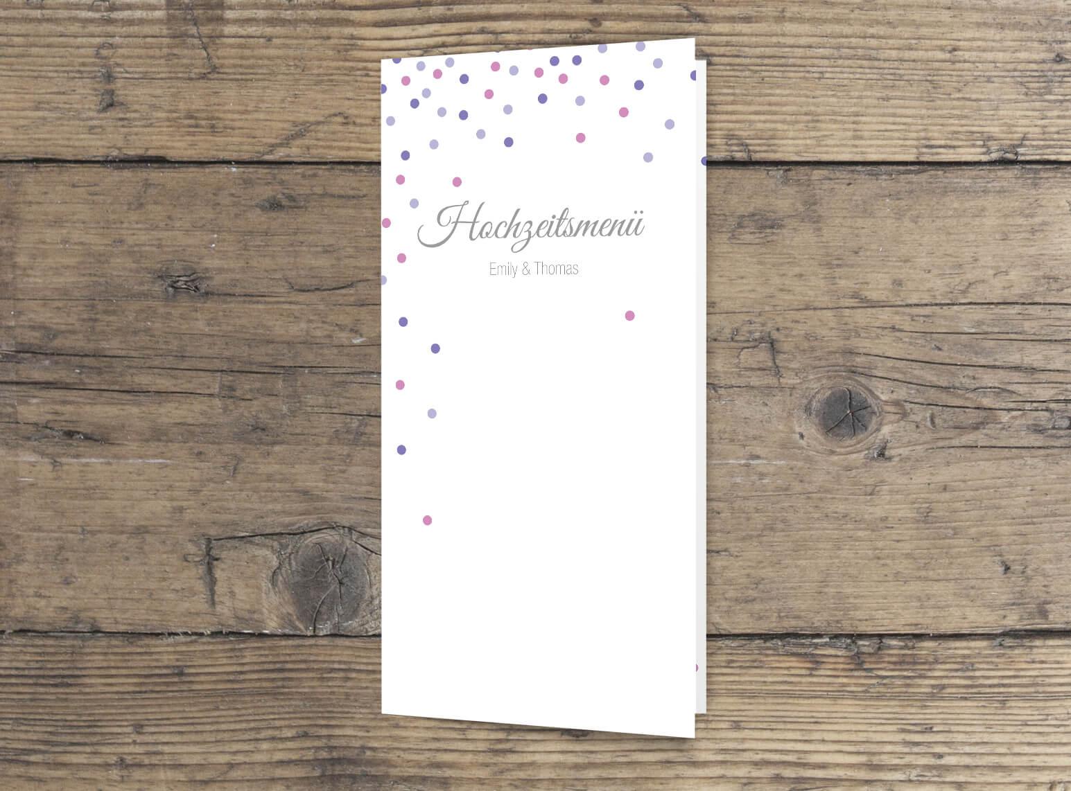 Hochzeits Menüklappkarte im modernen elegantem Design