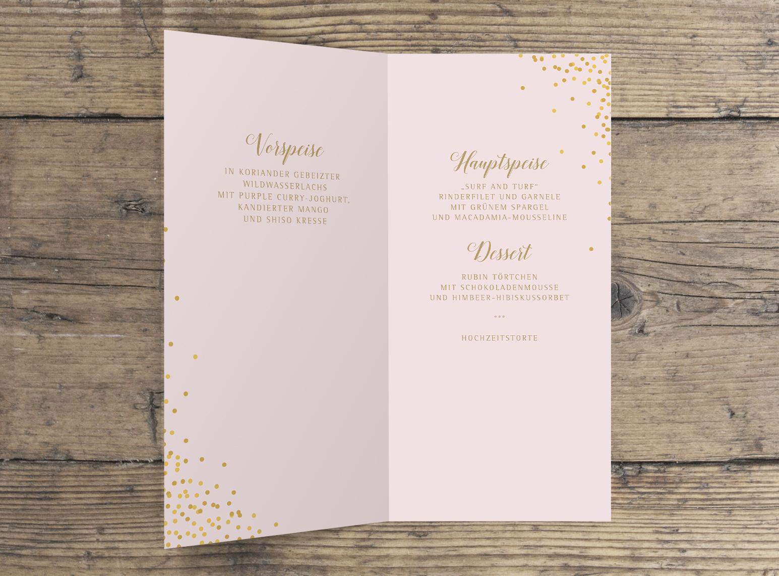 Menü Klappkarte Hochzeit innen rosa gold