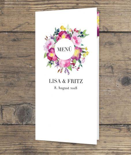 Hochzeitsmenüklappkarte Papeterie im Blumen Aquarell Design