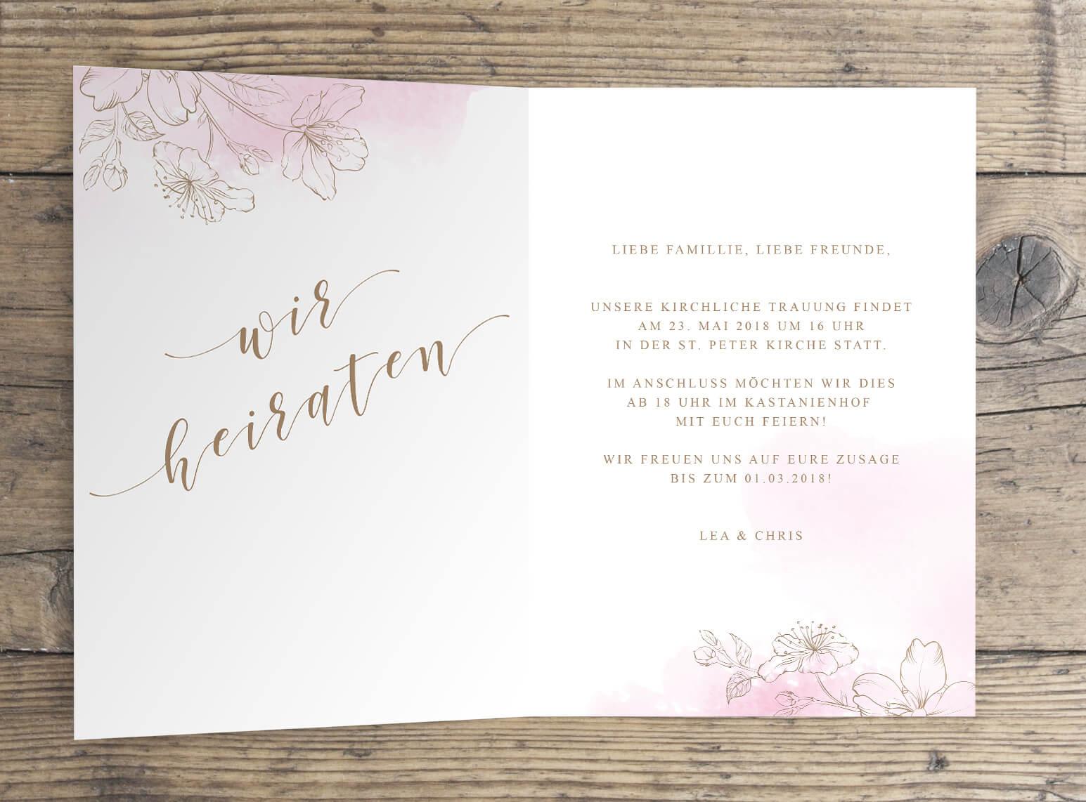 U201cCHERRY BLOSSOMu201d Hochzeitseinladung Klappkarte