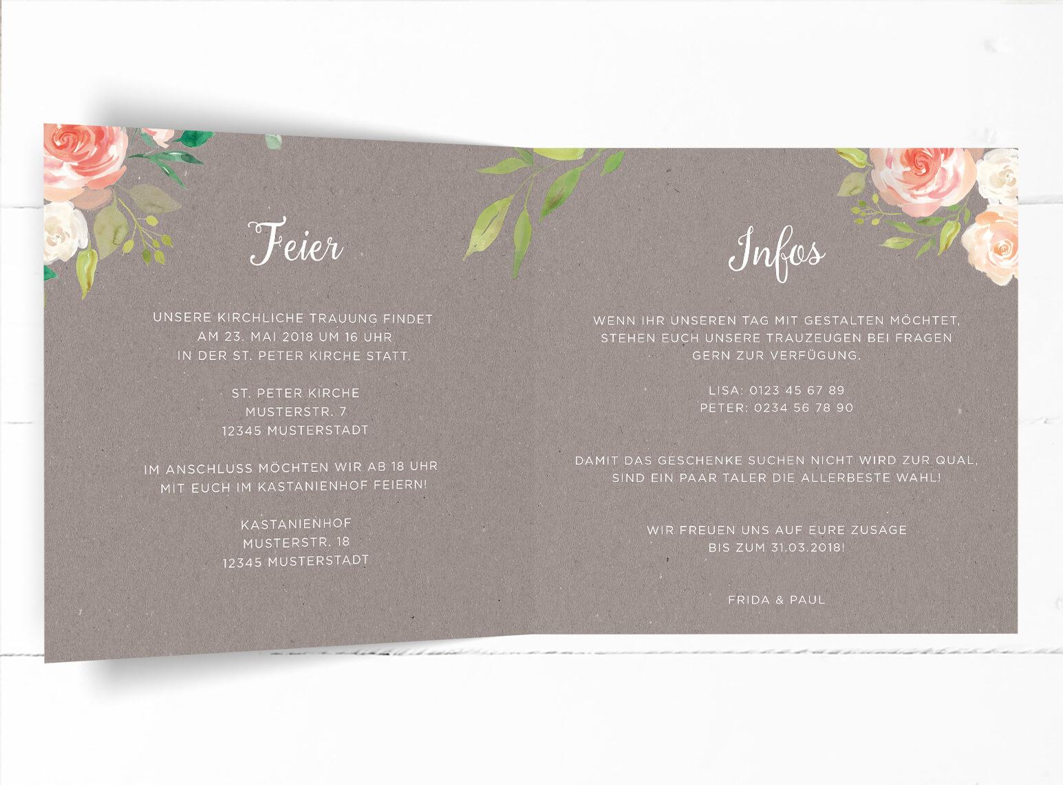 Hochzeitseinladung In Grauer Kraftpapieroptik Verziert Mit Pfingstrosen