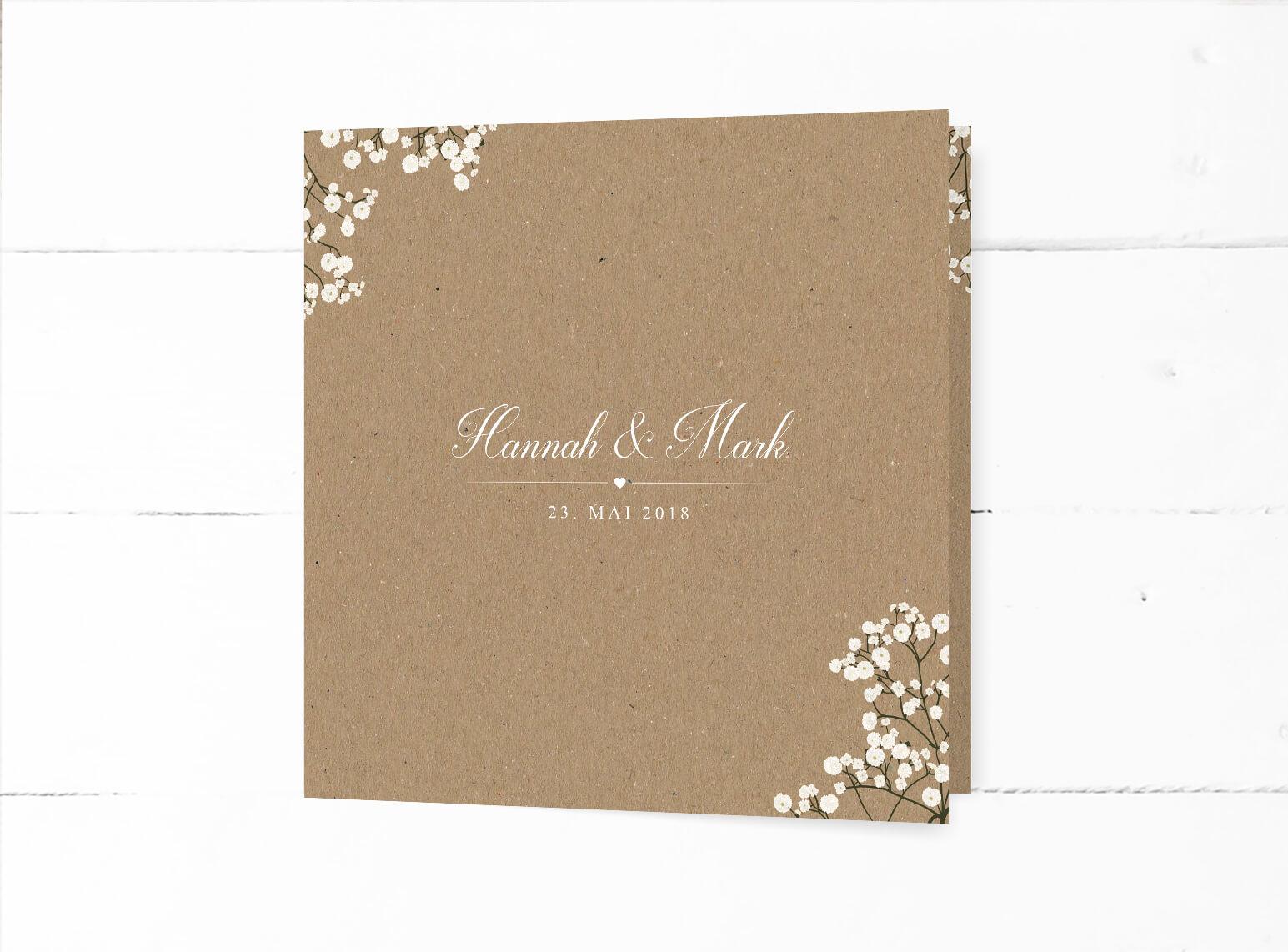 Hochzeitseinladung im Vintage Style, Quadratische Klappkarte