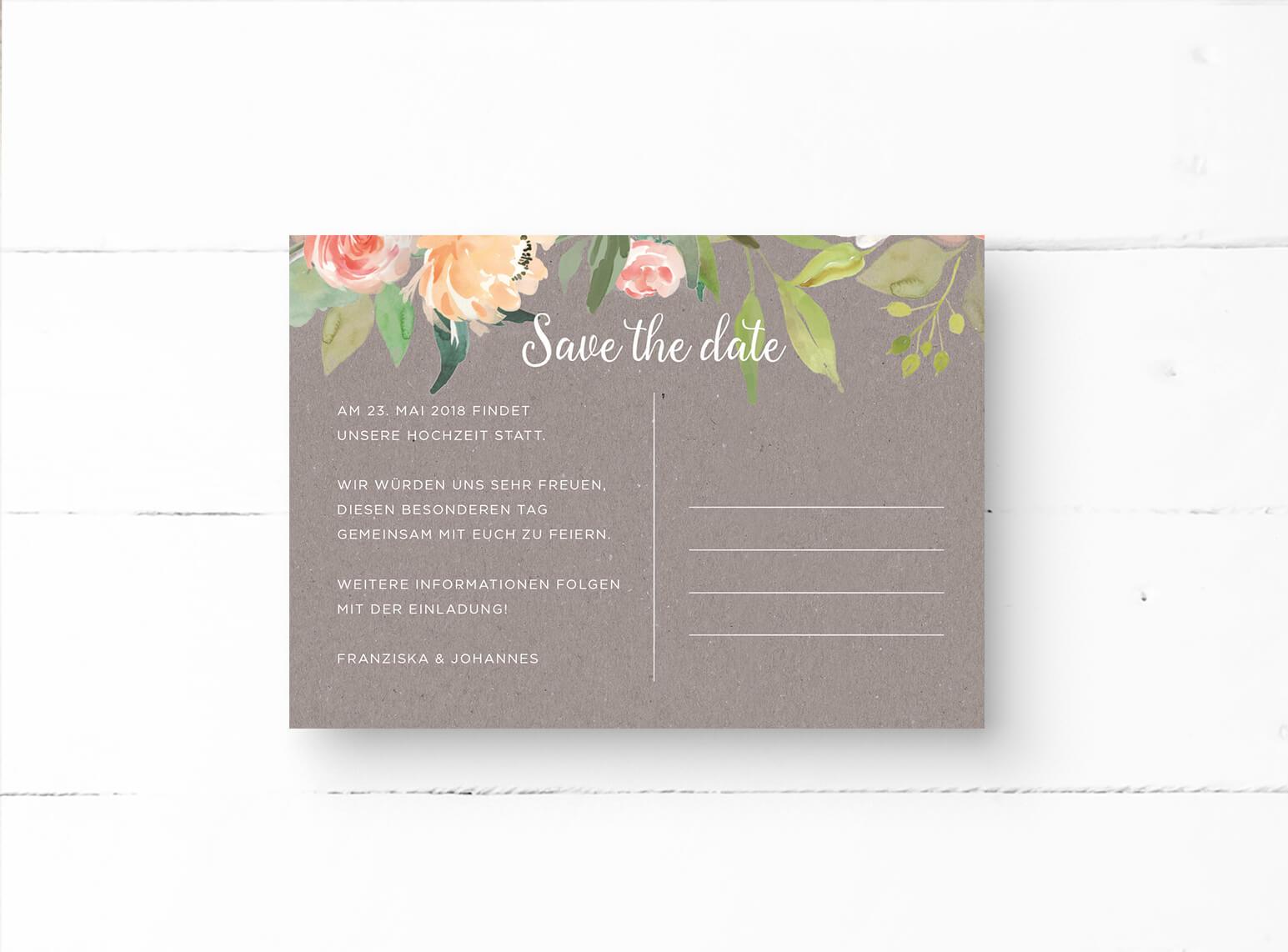 Kraftpapier in Grau | Save The Date Karten | Aquarell