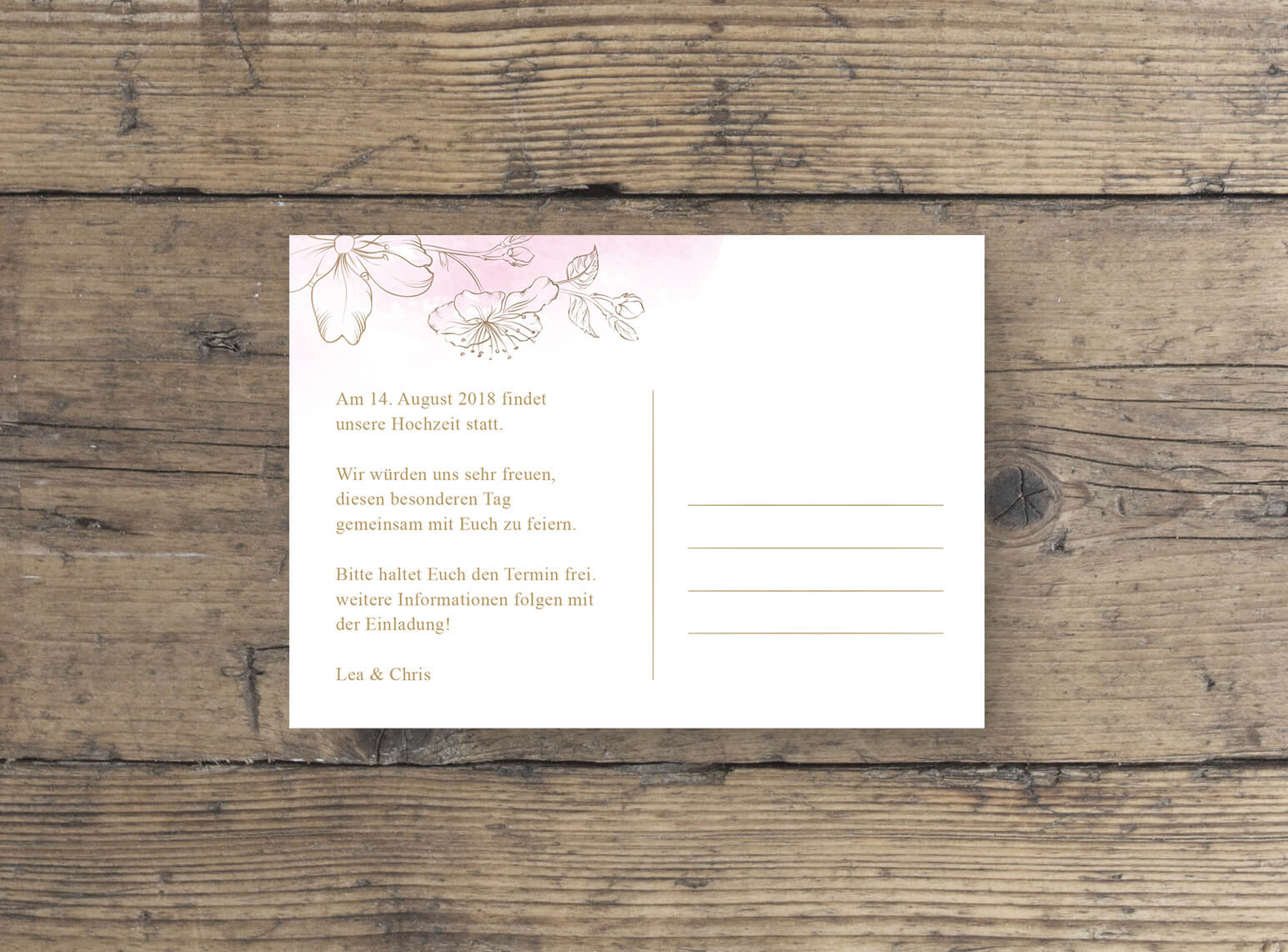 Save-the-Date Save The Date Postkarte | Hochzeit | goldene Effektfolie