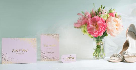 Hochzeit Save The Date Karten im Glamour Look mit Gold Effekt