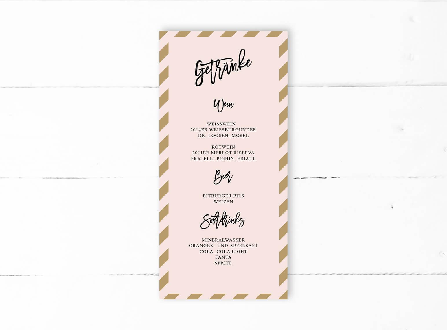 Hochzeit Menue Karte Dinlang Rosa Gold Dots Schwarz Back Mp0012 5 0
