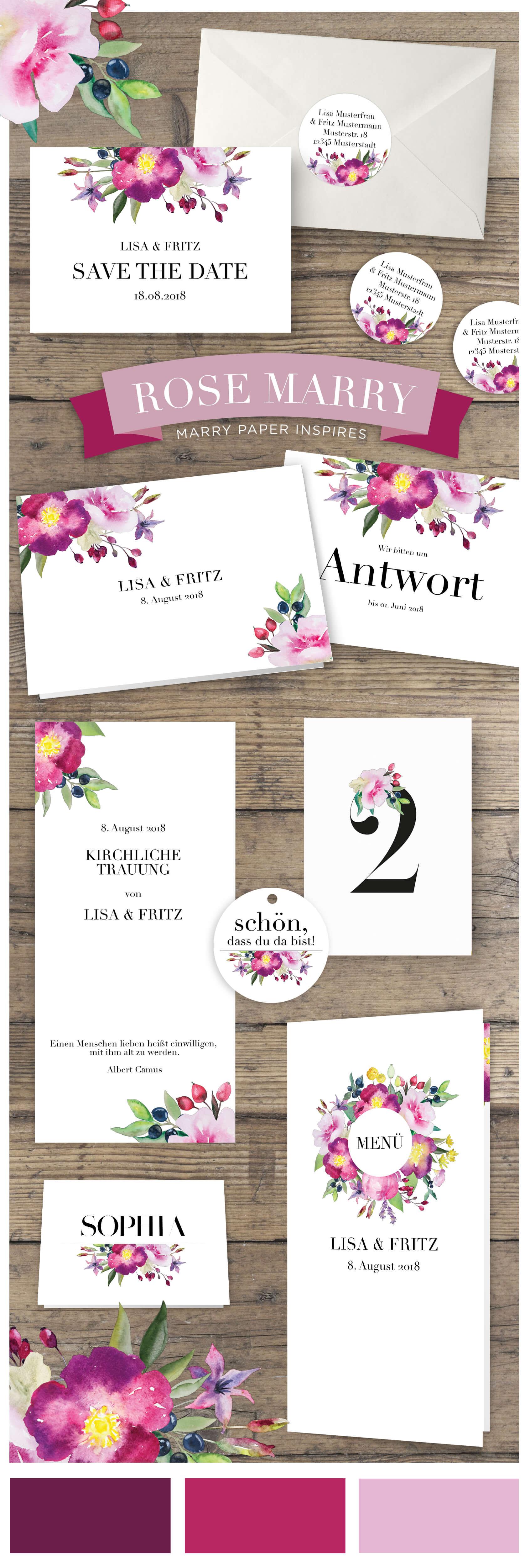 Hochzeitskarten wilde Romantik in Aquarell, Hochzeitspapeterie mit Aquarell Blumen Rosen, Verspieltes Design