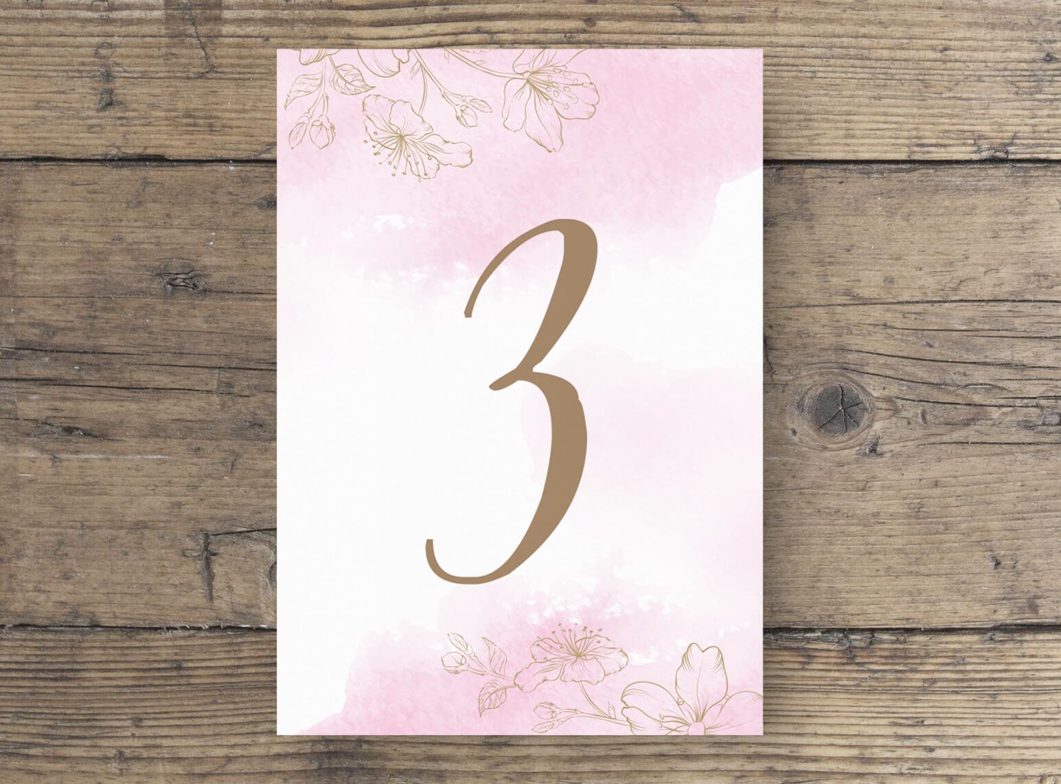 hochzeit tischnummer kirschblüten rosa weiß goldn