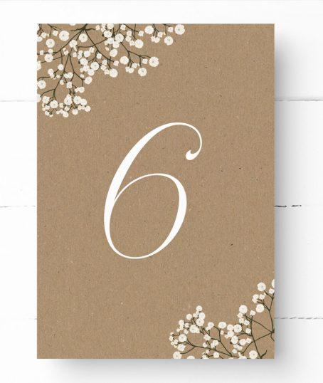 Tischnummer Kraftpapier Hochzeit Schleierkraut Vintage Sommer