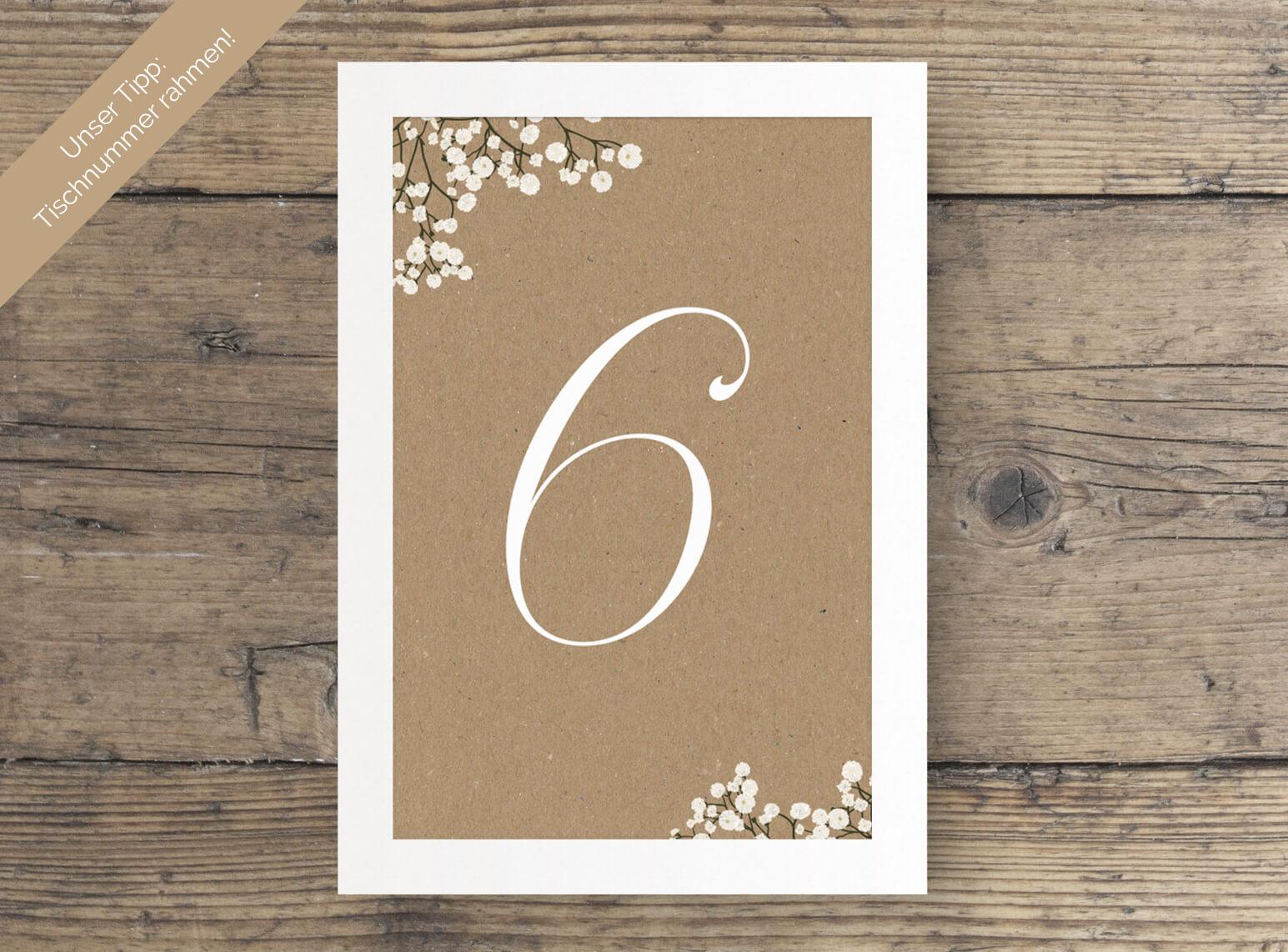 Hochzeit Tischnummer Kraftpapier Schleierkraut