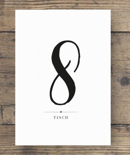 Hochformatige Tischnummer schwarz weiß elegantem Hochzeitsdesign