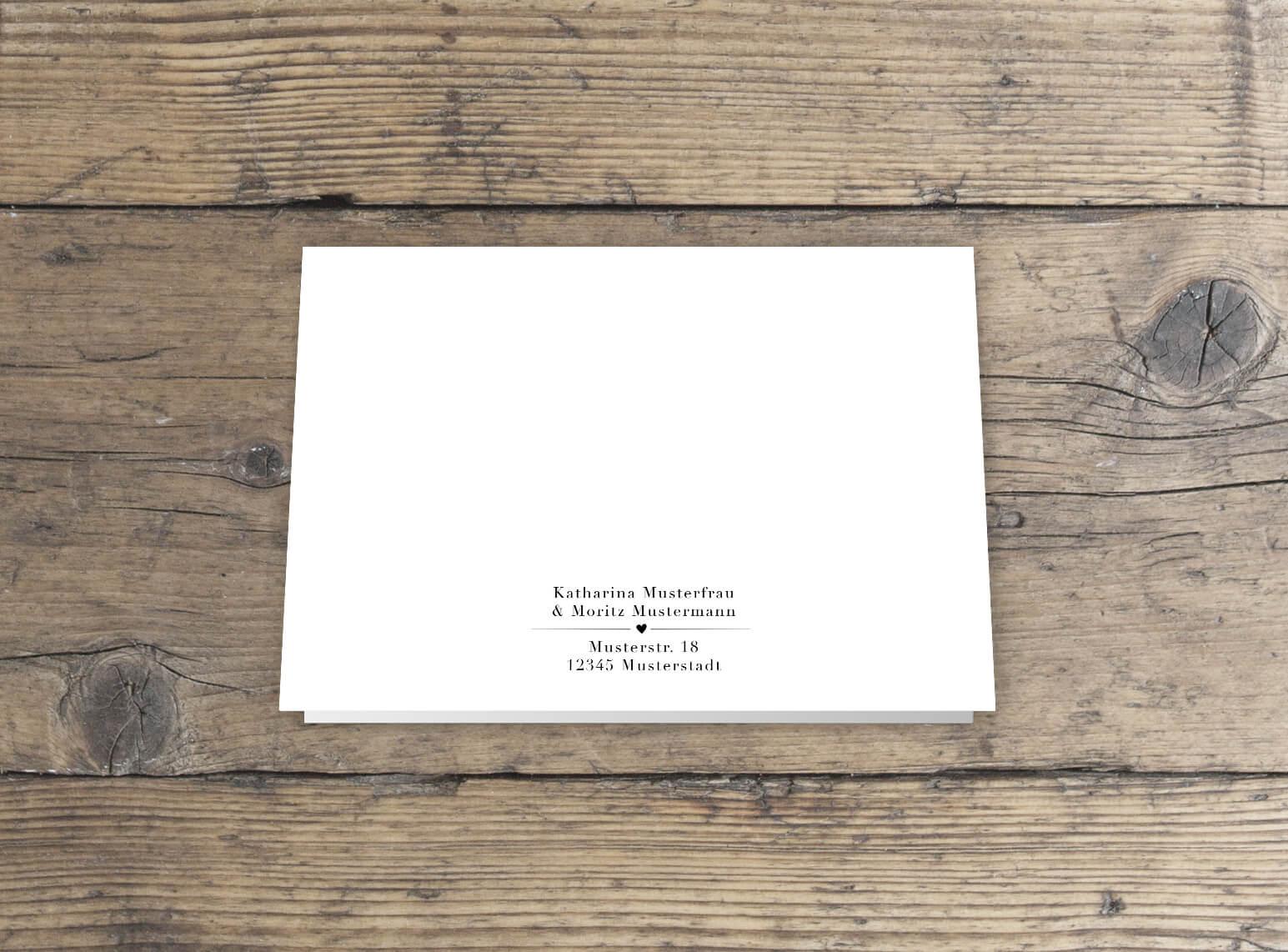 Hochzeitseinladung im Handlettering-Stil und elegantem schwarz weiß design
