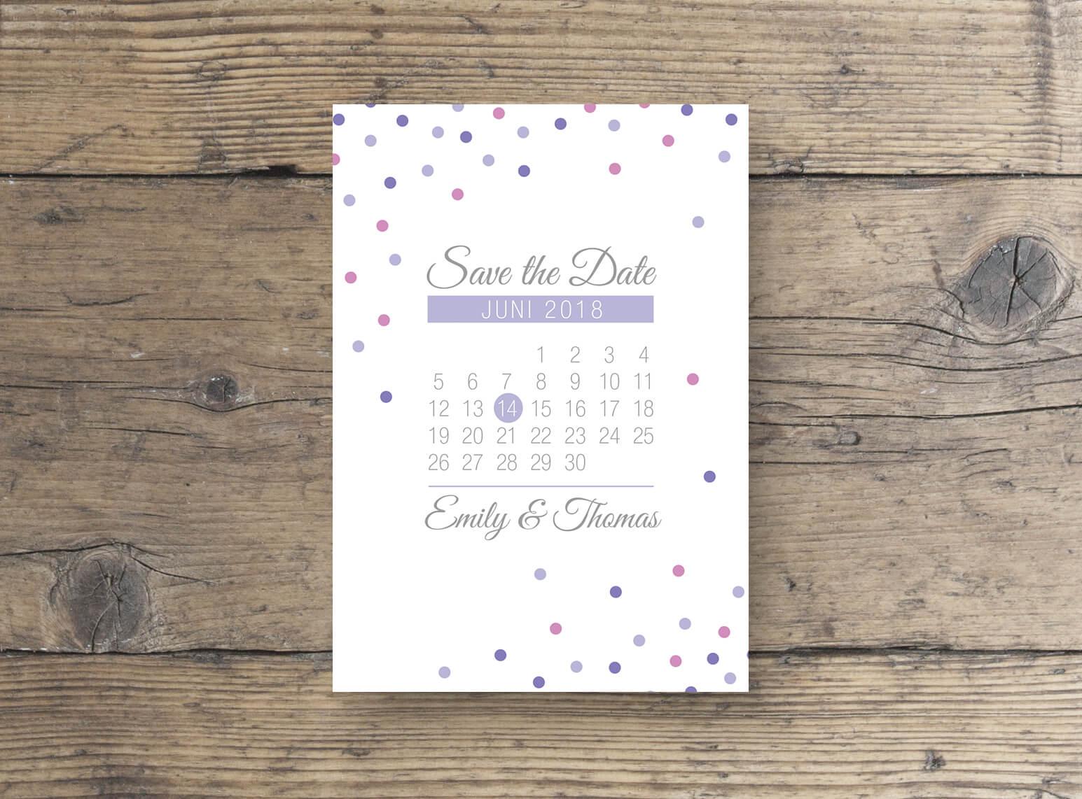 Save the Date Karte mit Kalender Hochzeit modernes design