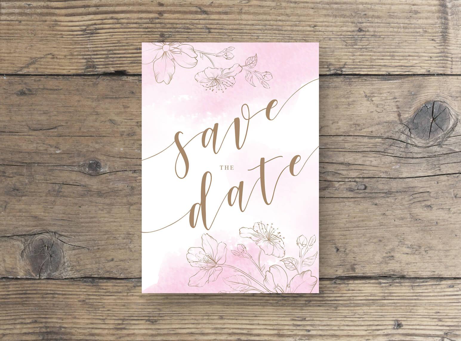 Save The Date Postkarten zur Hochzeit mit glänzende, goldene Effektfolie