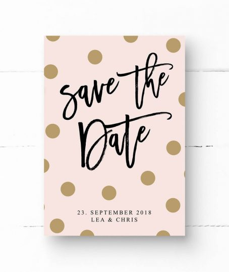 Save The Date Postkarte mit goldenen Punkten