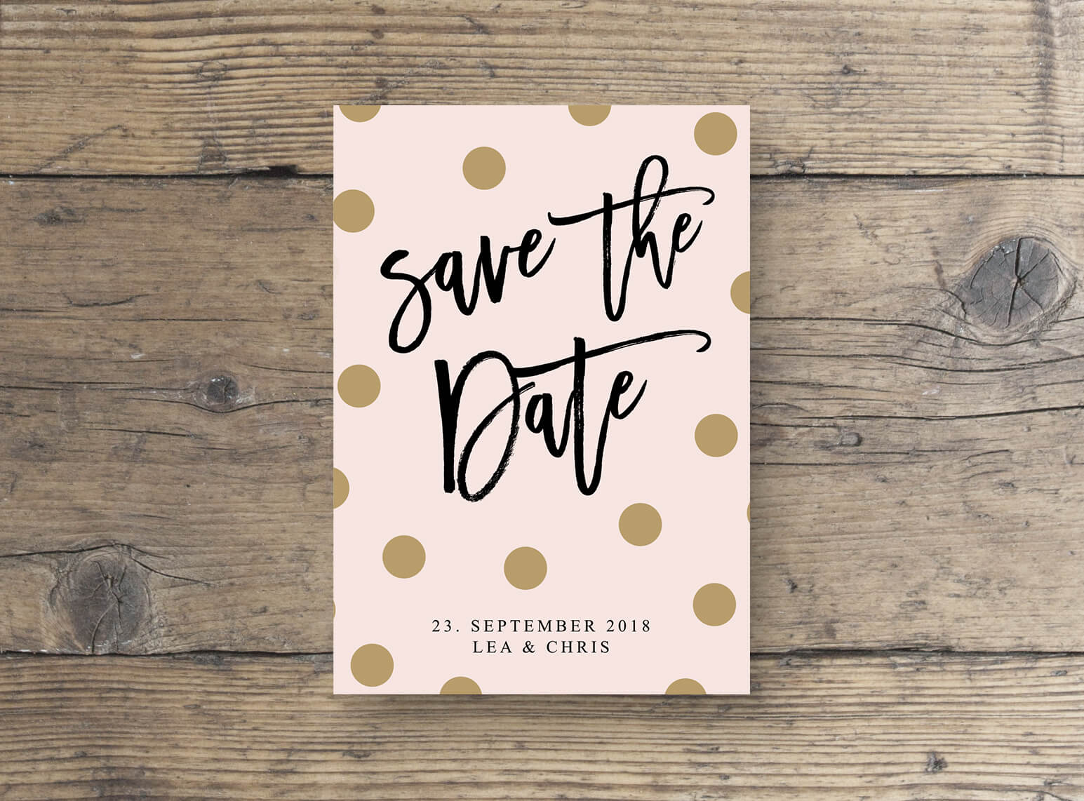 Save the Date Postkarte Save The Date Postkarte mit goldenen Punkten, rosa gold effekt / dots / punkte / verspielt modern / script Schrift