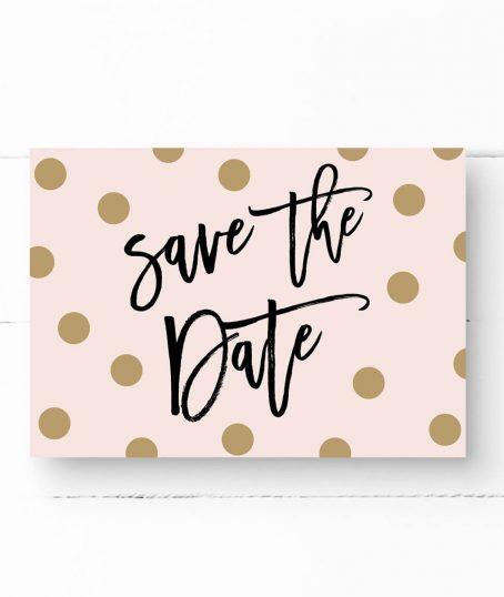 Save The Date Postkarte Gold gedruckte Punkte schwarzer moderner Schrift