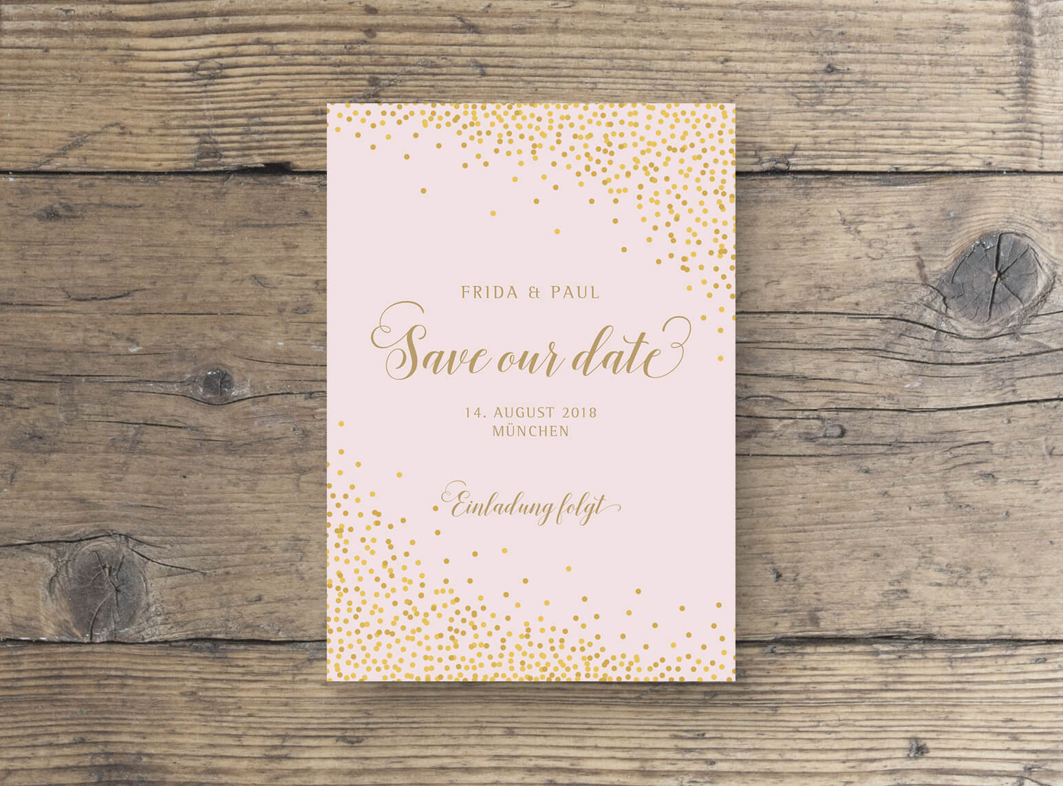Save The Date Glamour Postkarte Sparkle in Rosa Gold Vorderseite