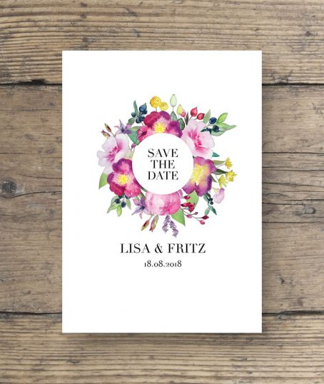 Blumen Aquarell Save the date Postkarte