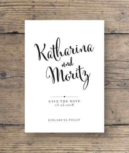 Hochzeitskartendesign Save The Date Postkarte schwarz weiss Kalligrafie