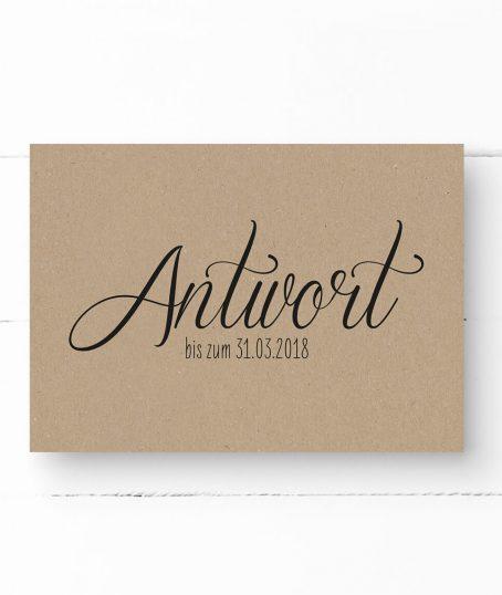 Antwortkarte, Hochzeit, Kraftpapier, schwarze Kalligrafie, DIN A6 Postkarte