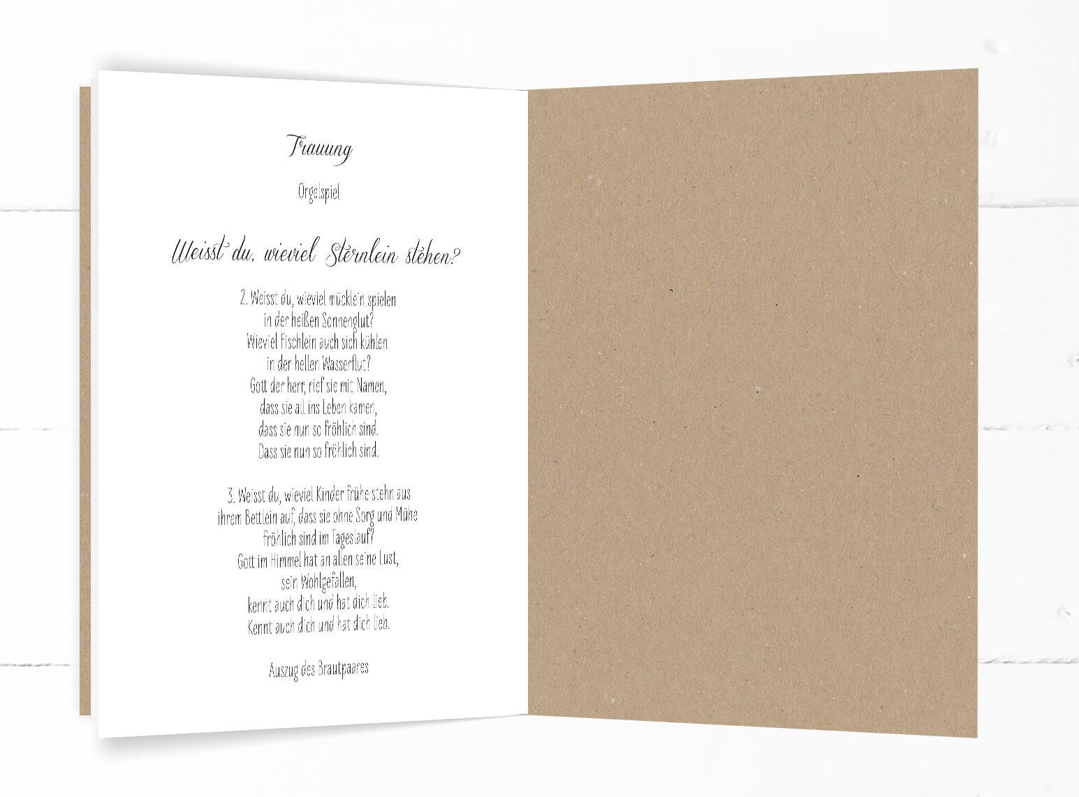 Hochzeit, Kirchenheft, echtes Kraftpapier, schwarze Kalligrafie, DIN C5, 8-seitig, Hochformat, Innenseiten weiß