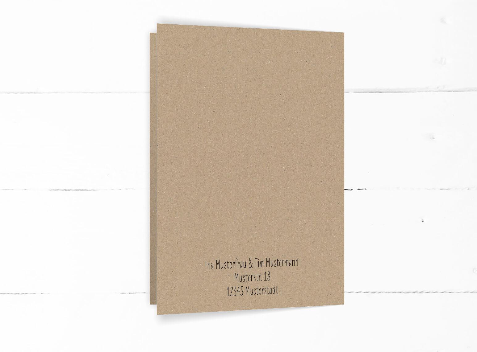 Hochzeit, Einladung, echtes Kraftpapier, schwarze Kalligrafie, DIN C6 Klappkarte, Hochformat, Rückseite