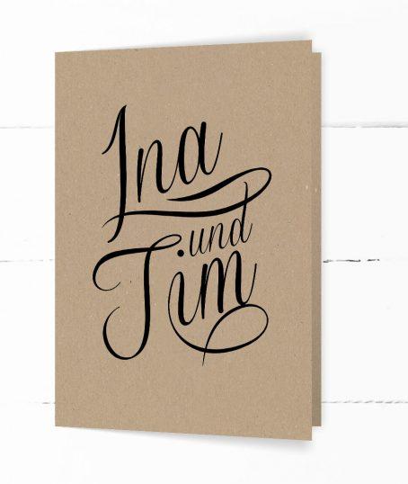 Hochzeit, Einladung, echtes Kraftpapier, schwarze Kalligrafie, DIN C6 Klappkarte, Hochformat