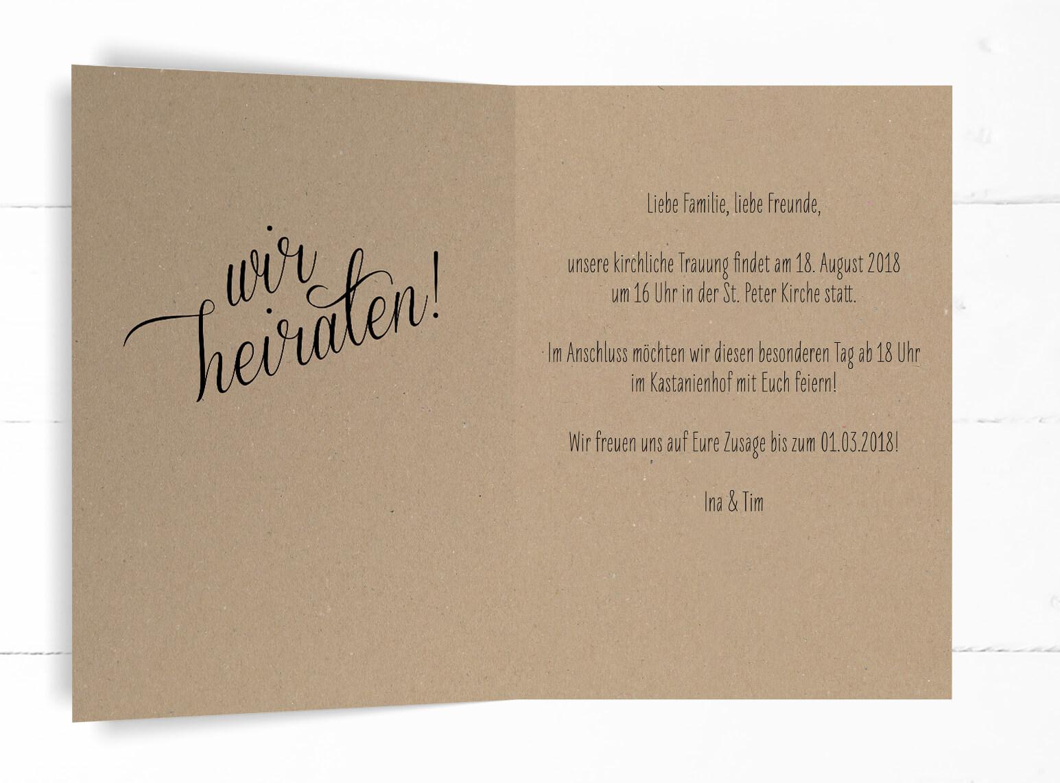 Hochzeit, Einladung, echtes Kraftpapier, schwarze Kalligrafie, DIN C6 Klappkarte, Hochformat, Innenseite