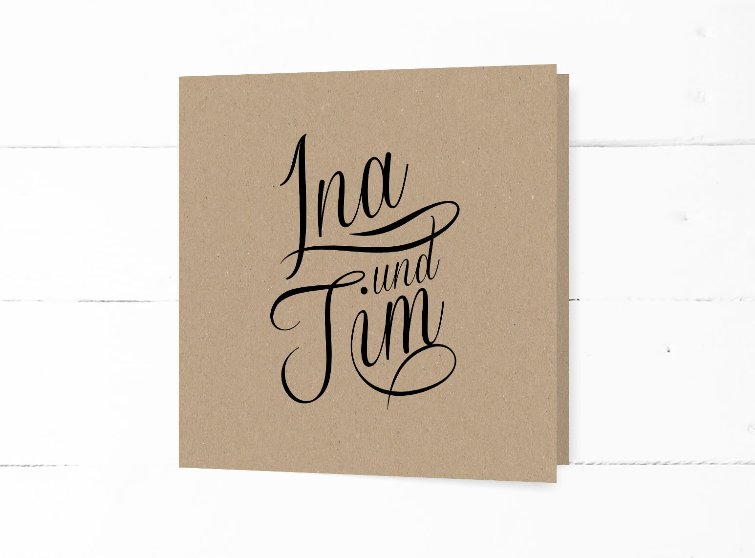 Hochzeitseinladung auf echtem Kraftpapier quadratisch, schwarze Kalligrafie, Klappkarte, Naturpapier, Vintage Stil