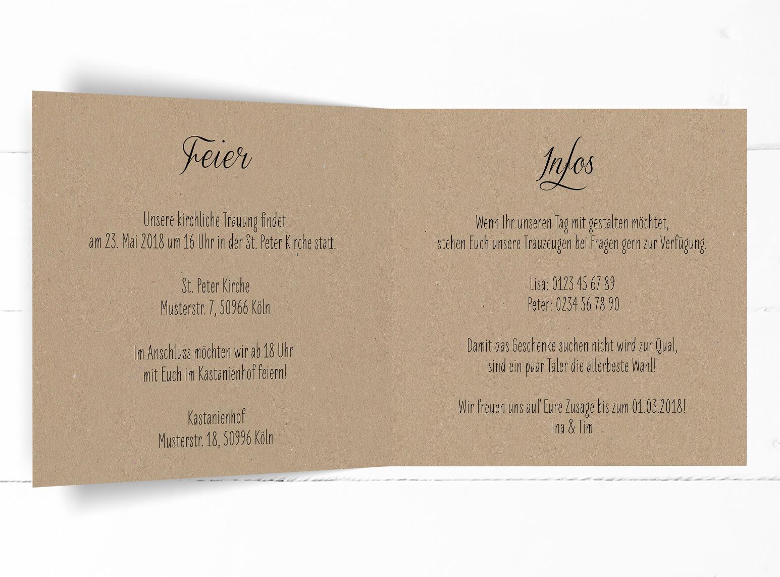 charming hochzeit einladung #2: Hochzeit, Einladung, echtes Kraftpapier, schwarze Kalligrafie, quadratische  Klappkarte