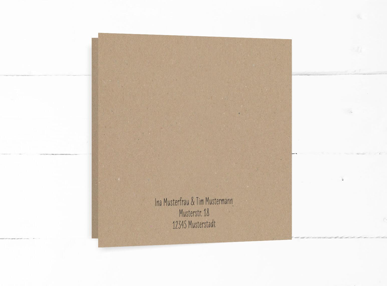 Hochzeit, Einladung, echtes Kraftpapier, schwarze Kalligrafie, quadratische Klappkarte