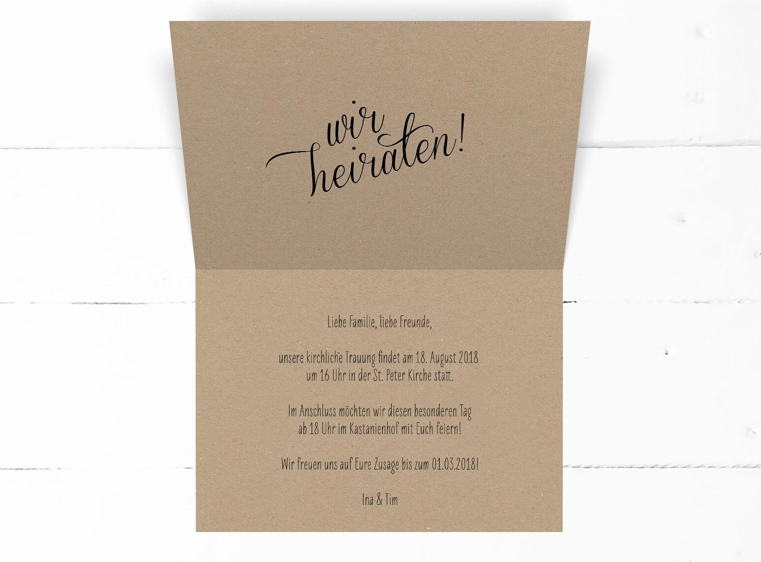 Hochzeit, Einladung, Kraftpapier, echtes Kraftpapier, schwarze Kalligrafie, DIN C6 Klappkarte, Querformat, Innen