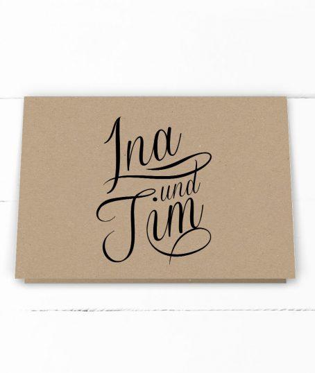 Hochzeit, Einladung, echtes Kraftpapier, schwarze Kalligrafie, DIN C6 Klappkarte, Querformat, Außen