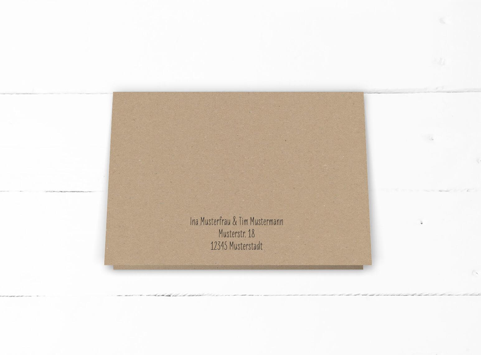 Hochzeit, Einladung, echtes Kraftpapier, schwarze Kalligrafie, DIN C6 Klappkarte, Querformat, Rückseite