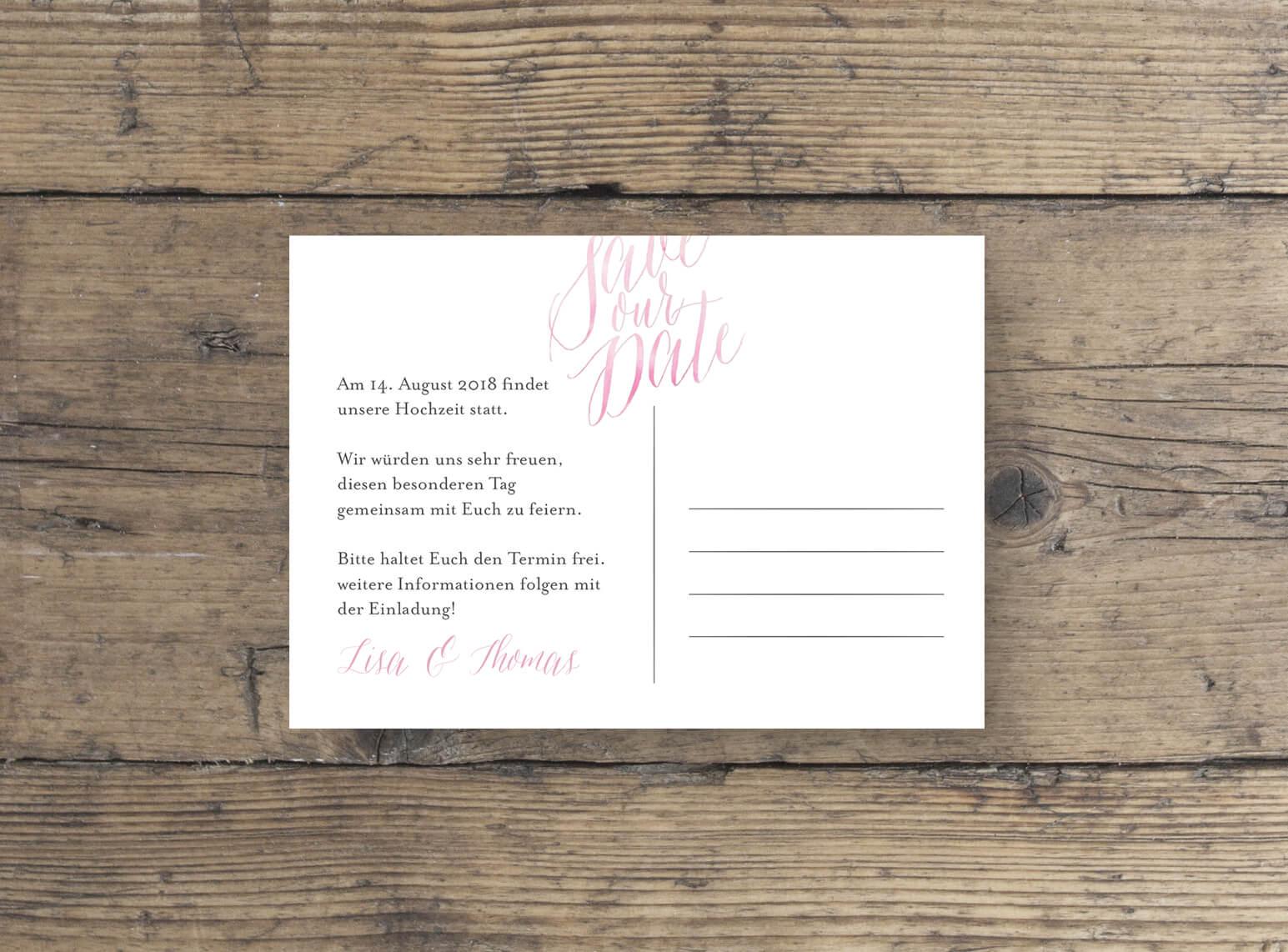 Hochzeitspapeterie, Save the Date Karte, rosa, Aquarell, Kalligrafie, grau, rueckseite