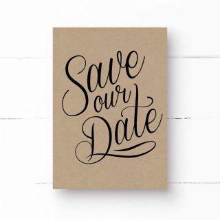 Save Our Date Kraftpapier und Kalligrafie-Schrift, Hochzeit, Vintage Stil, Rustikal