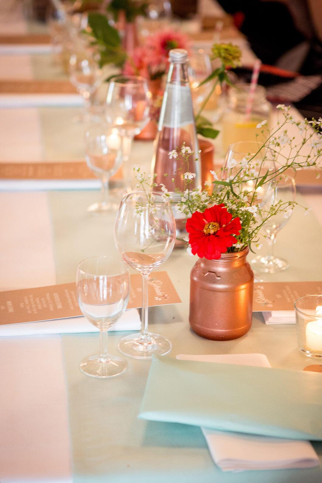 Hochzeitstischdeko, Menükarten, Tischpapeterie, Deko, Kupfer
