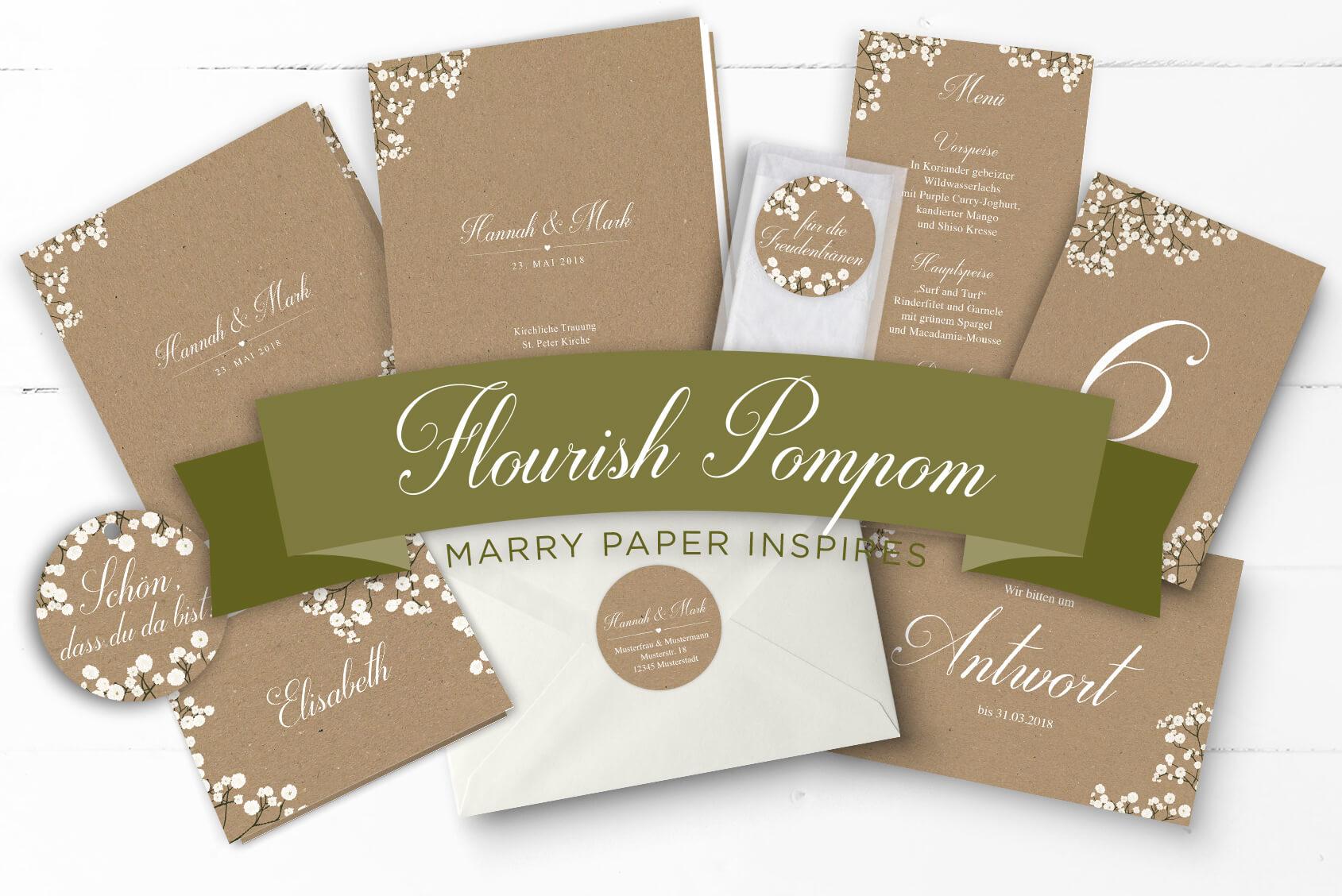Flourish PomPom, Hochzeitspapeterie mit Kraftpapieroptik, weißer Kalligrafieschrift und Schleierkraut